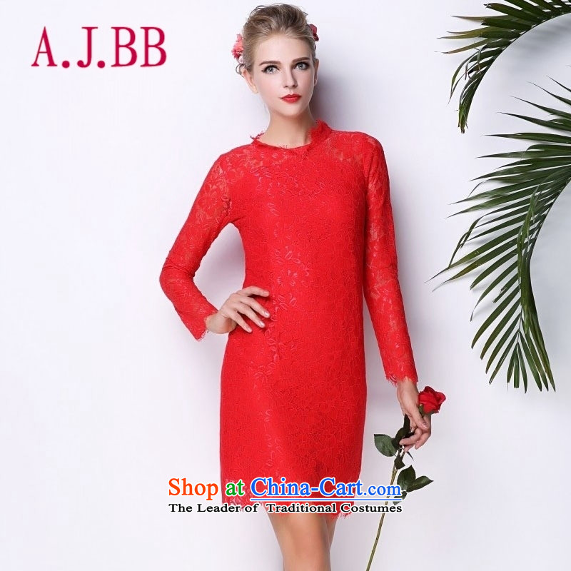 Vpro only lace red dress bows dress long-sleeved Sau San evening dress autumn 3094 New Red�M