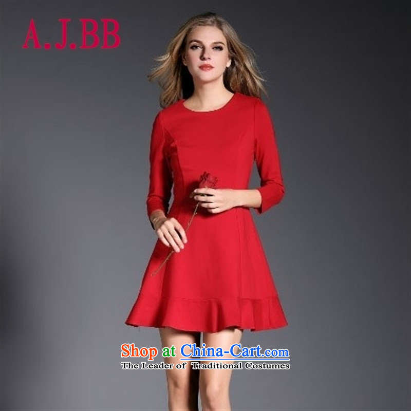 Only long-sleeved red costumes vpro bride skirt the lift mast to marry a drink served with round-neck collar long-sleeved gown skirt 3082A RED L