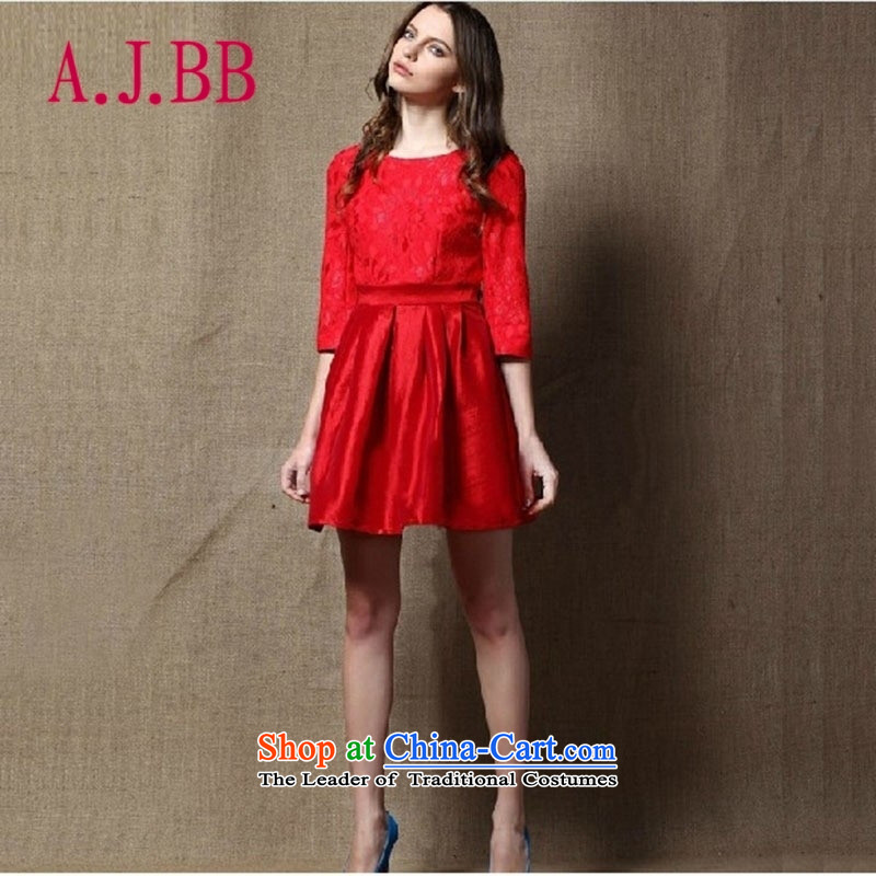 Vpro only dress 2015 new dresses in red sleeved bon bon skirt marriage bows dress?008?RED?M