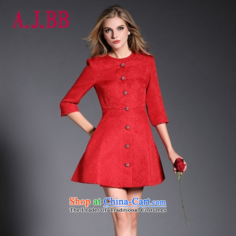 Vpro only 2015 New Red Dress single row tie bows dresses marriage Sau San?30.86?RED?M