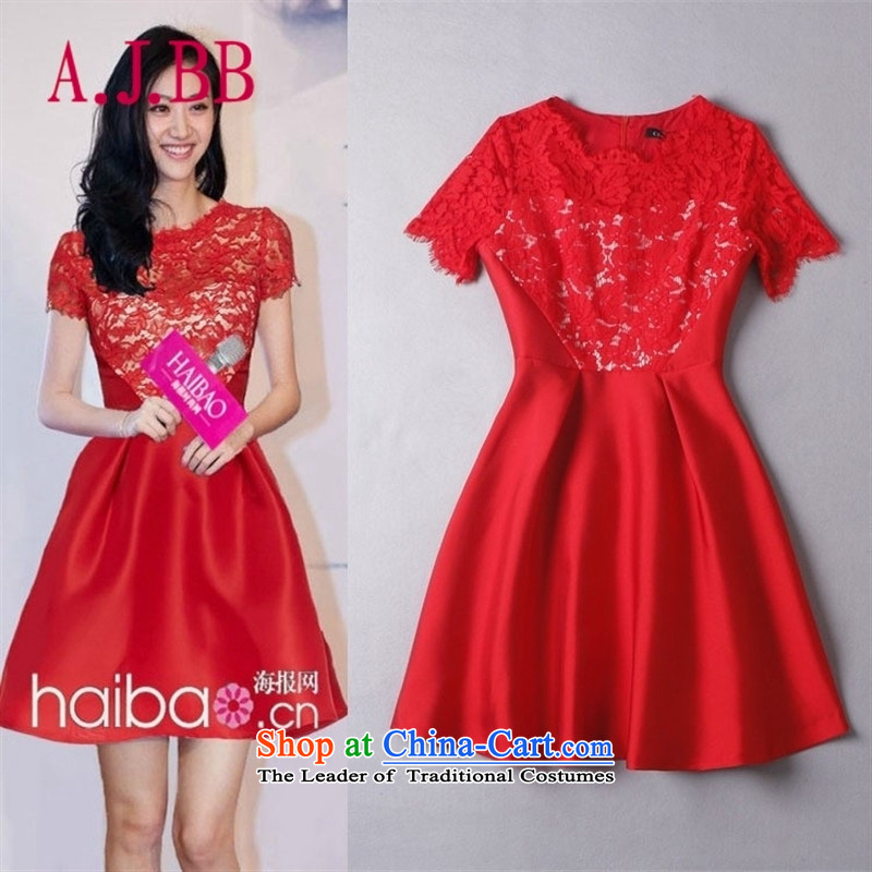 Vpro only dress 2015 new lace engraving Sau San Red Dress skirt bows services back to the door to serve evening dresses�C03�Red�S