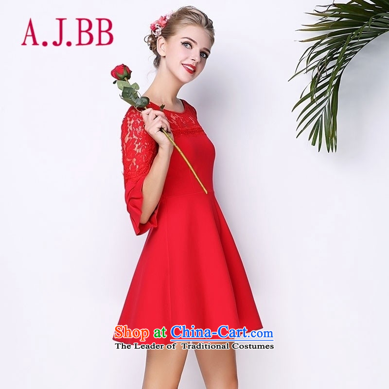 Only the 2015 autumn costumes vpro inside the new red bows services evening dresses lace stitching horn cuff dresses 3,091 red?XL