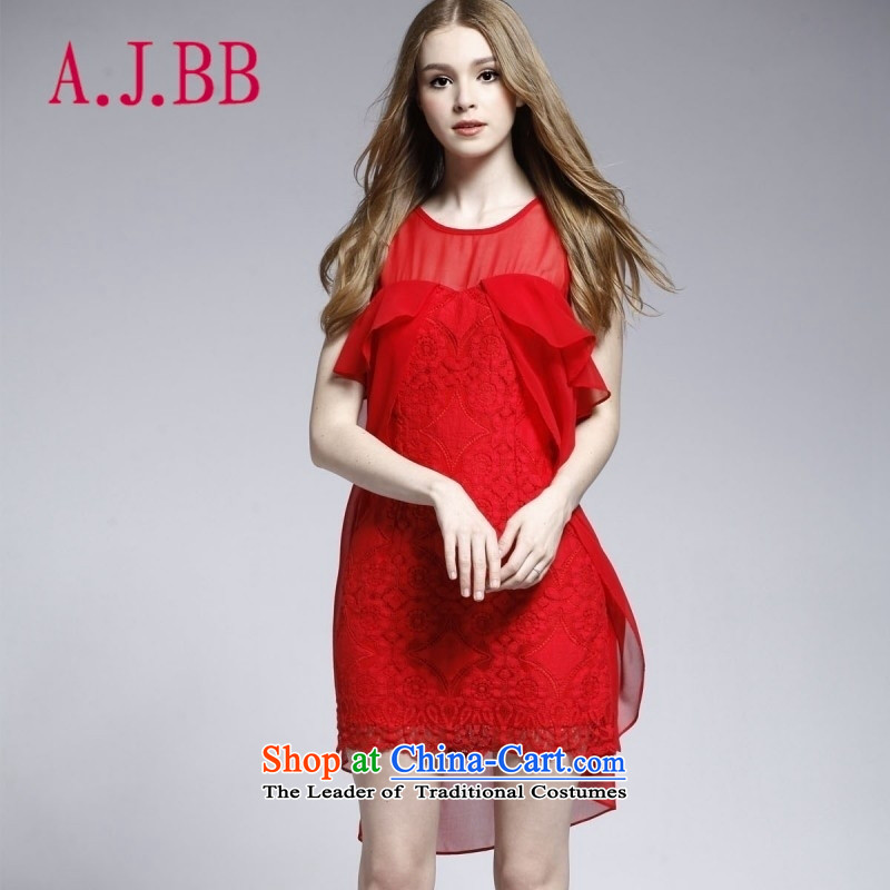 Vpro only married Dress Short of bows dress red 2015 new lace water-soluble flower stitching white dress 2166 White�M