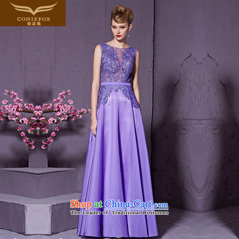 Creative Fox purple lace nail pearl banquet evening dresses marriages services under the auspices of the annual bows dress will long dresses skirts Sau San 30955?S Light Violet