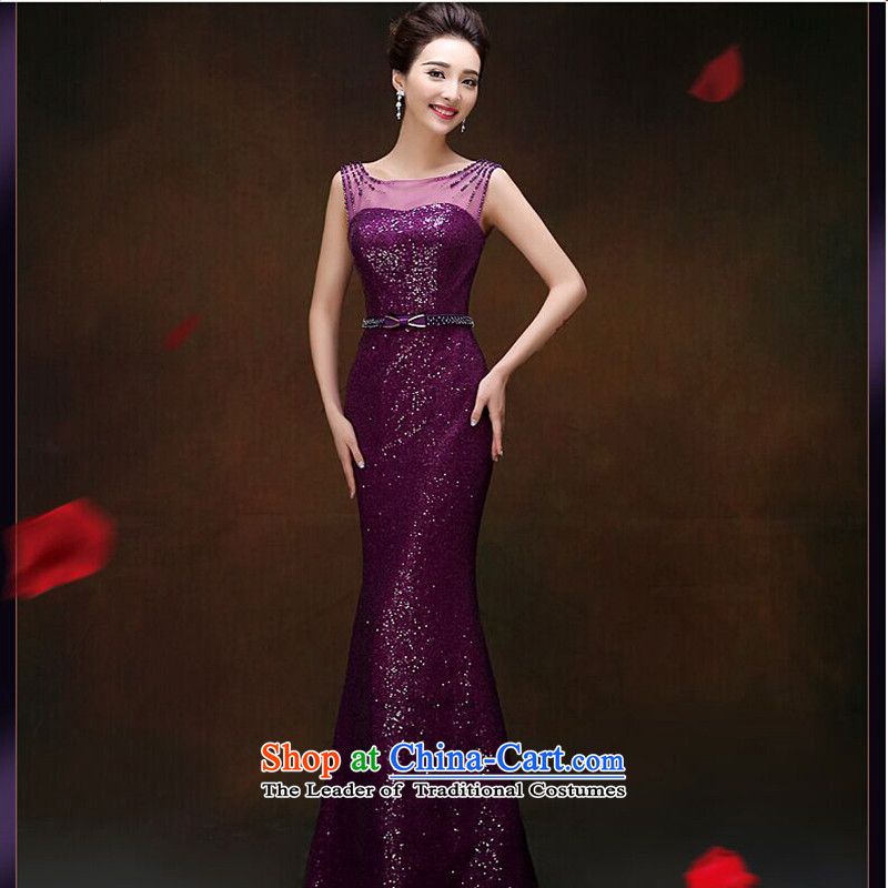 The first white into about the new 2015 Sau San on chip crowsfoot dress hostess will marry stylish bows service long purple?L
