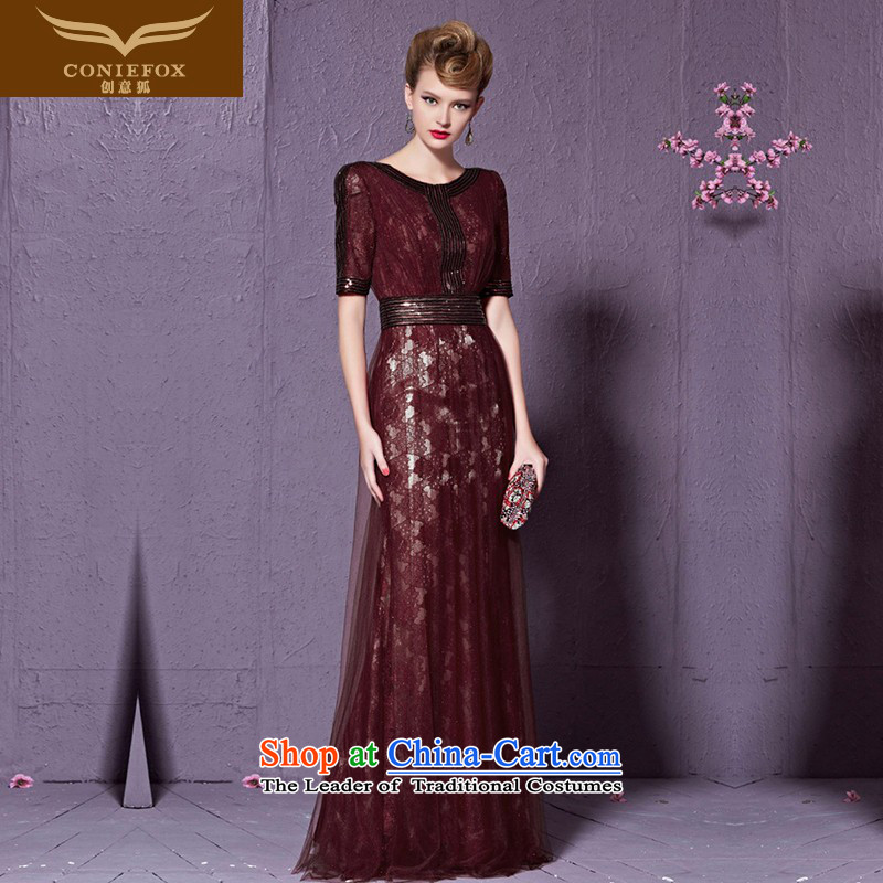 Creative Fox wine red bride wedding dresses marriage bows services Sau San long thin banquet dress graphics wedding dress evening dress welcome 30958 wine red聽S