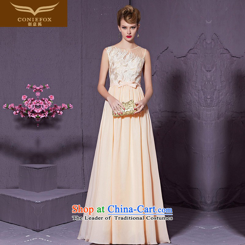 Creative Fashion Bow Tie   Fox banquet evening dress_ annual meeting presided over long elegant dress bridesmaid dress marriages bows?30959 services?apricot?XXL