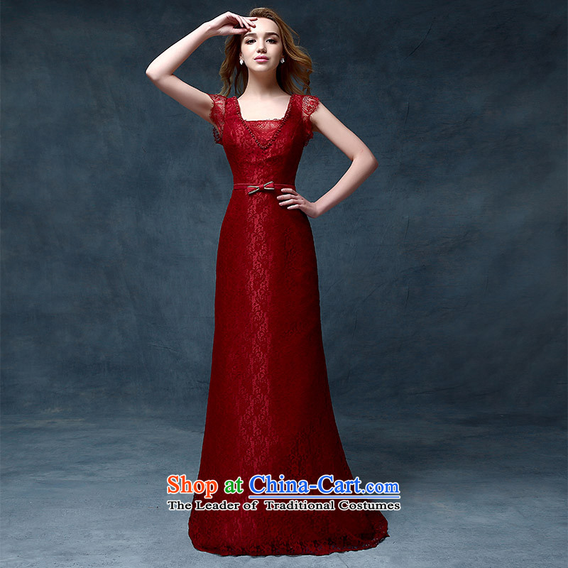 According to Lin Sha bows Service Bridal Fashion 2015 evening dresses long crowsfoot Sau San slotted shoulder wedding dresses marriage half sleeve wine red