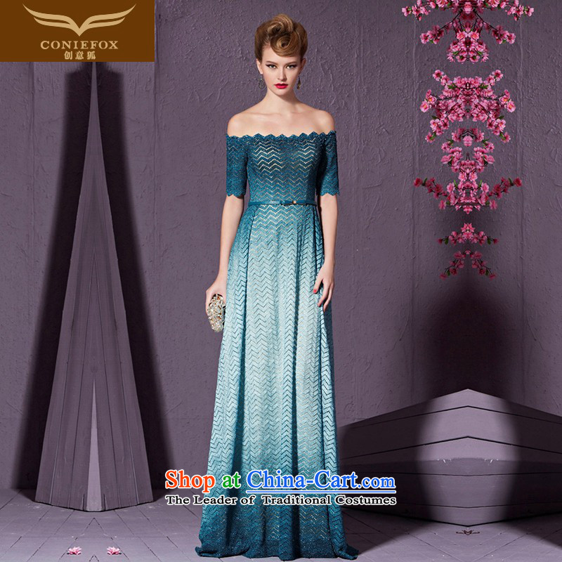 The kitsune stylish blue banquet creative evening dress the word shoulder wedding dress evening bride long bows services under the auspices of dress will long skirt 30965 Lake blue?S