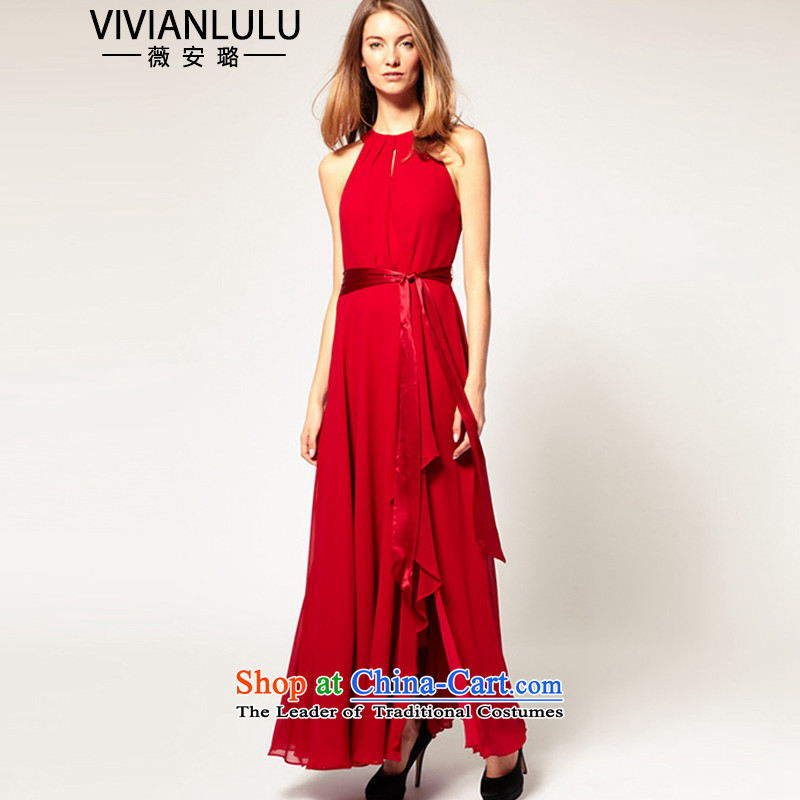 2015 foreign trade rules do not comfortableness hot large sleeveless chiffon long skirt retro bare shoulders and sexy gown dresses?AL150676?red are code