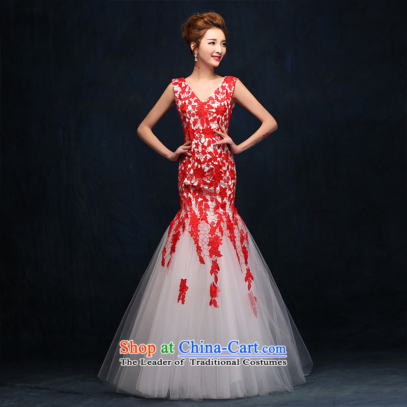 According to Lin Sha bows Service Bridal Fashion evening Korean red lace crowsfoot wedding dress long evening dresses 2015 New Red tailored consulting customer service
