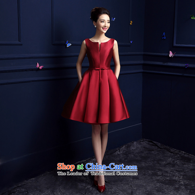 Korea, Gigi Lai stylish 2015HANNIZI length of evening summer elegant banquet dress, wine red short_?S