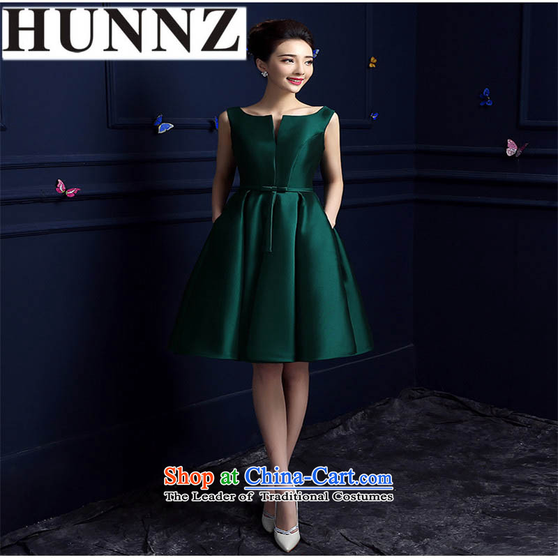 Name of the new 2015 HUNNZ stylish and elegant bride bridesmaid length of summer evening dress upscale dark green short,?XL