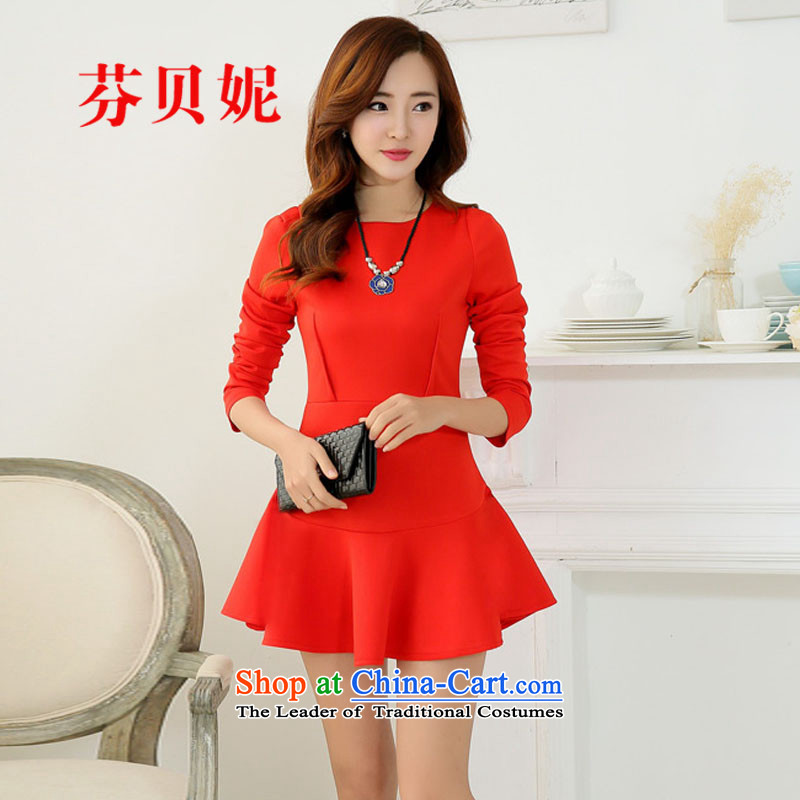 Leung Pui Connie 2015 new long-sleeved elegant forming the skirts of Sau San Korean dress marriage red dress F9074 RED M