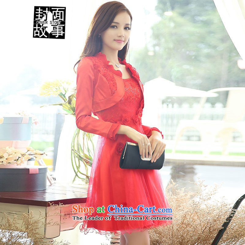 Cover Story 2015 new stylish light slice long-sleeved jacket small + Princess bon bon apron skirt two kits bridal dresses wedding marriage bows female red?XL
