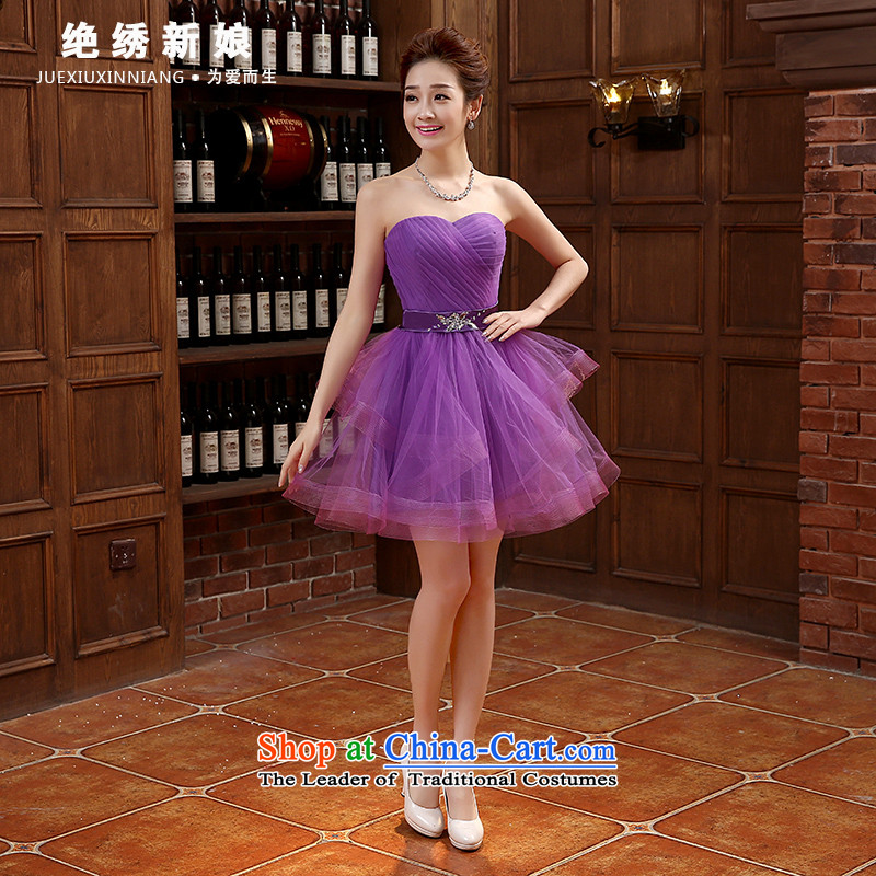 The bride evening dresses 2015 Spring/Summer new Korean short of major wiping the chest code graphics thin banquet marriage bridesmaid services purple?XXL?Suzhou Shipment