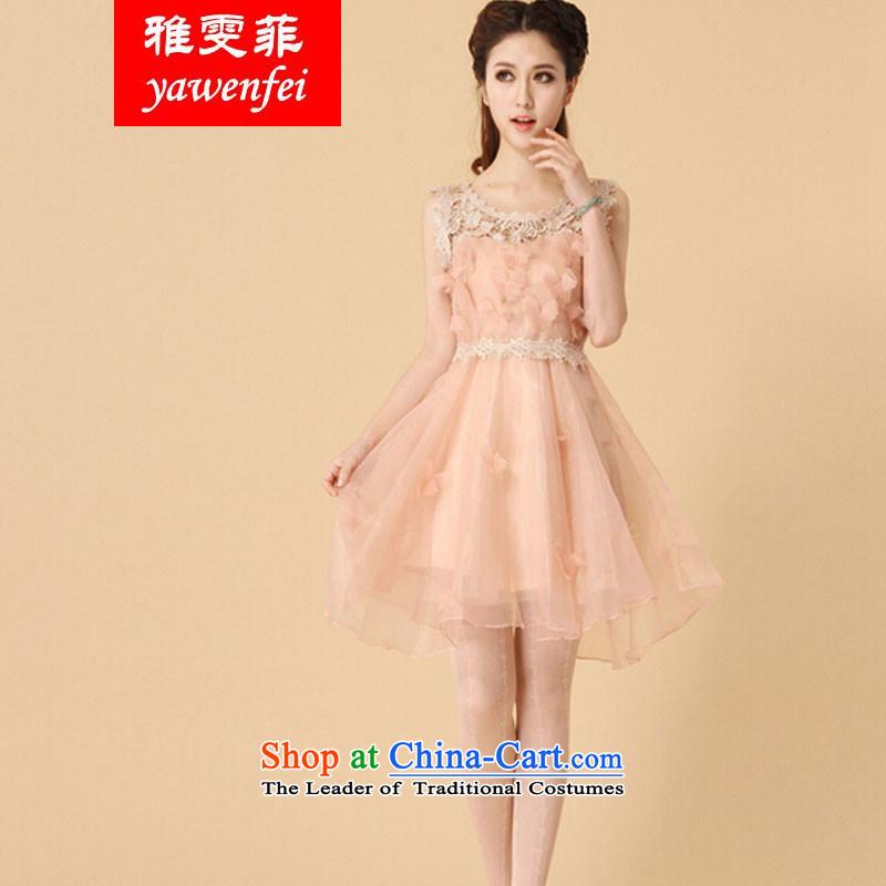 Ya Man, 2015 Korean lace the yarn dresses bon bon skirt princess skirt sleeveless bridesmaid small dress dress pinkS