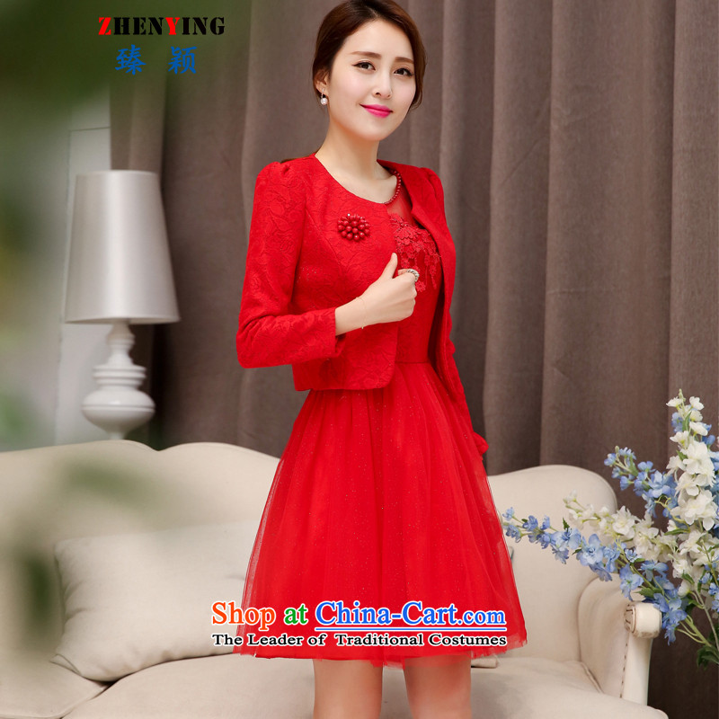 Zen Ying Female dress bride bows services 2015 Autumn) Marriage back elegant door kit skirt the betrothal red short-sleeved gown two kits red�XL