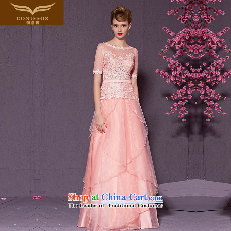Creative Fox pink lace short-sleeved bride wedding dresses marriage bows services Sau San long bridesmaid wedding dresses evening hospitality services long skirt 30968 pink聽XL