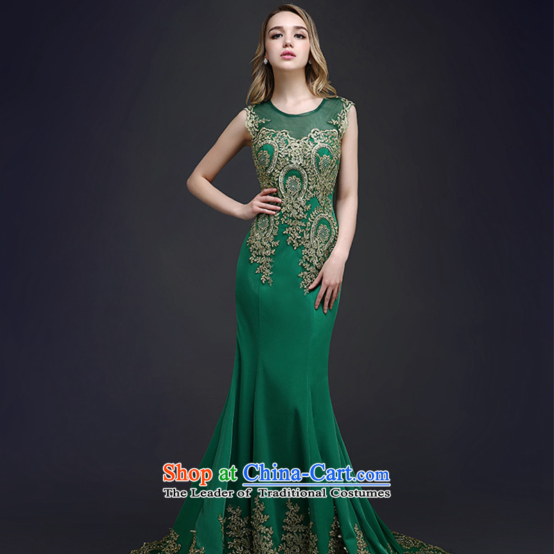 The first white into about crowsfoot evening dresses long 2015 new summer lace bride bows to Sau San tail red wedding dress female dark green聽L