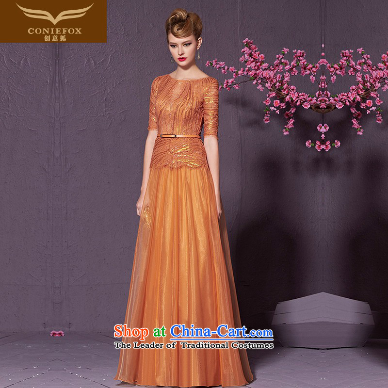 The kitsune style on-chip creative banquet dinner dress in long-sleeved Sau San evening drink services under the auspices of dress will video thin bridesmaid dress skirt 30980 orange?L
