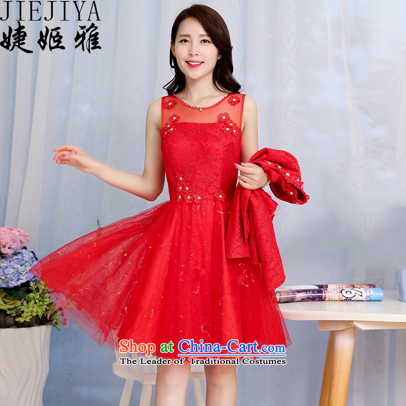Replace the Spring and Autumn Period, involving Suu Kyi won version wedding dress women and two piece dresses and stylish high-end temperament bride dress bows back to door bridesmaid evening dress female RED?M