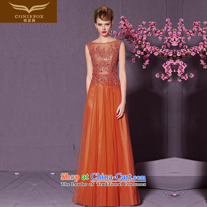 Creative Fox back reception banquet evening dress long evening drink service     auspices dress long skirt marriages welcome service 30985 orange M