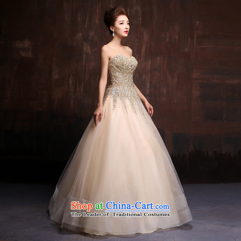 Gold wiping the chest dress bows services 2015 marriages long on-chip banquet dinner dress will preside over the picture color for Spring Dimension