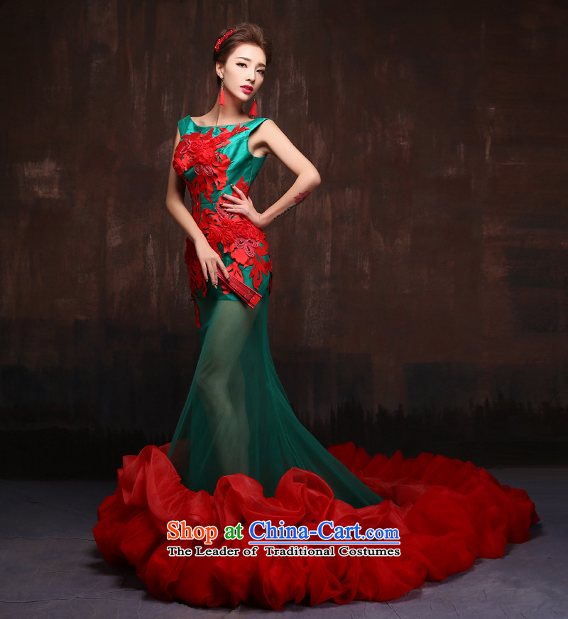 The spring and summer of 2015 new stylish long tail marriages crowsfoot evening dress photo building theme stage performances services picture color?S