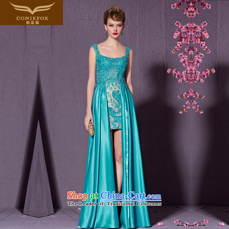 Creative Fox shoulders of the forklift truck graphics thin banquet evening dresses night service under the auspices of who are bows dress female lace performances dress Yingbin long skirt 82195 Blue?M