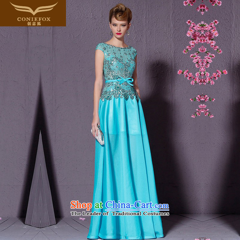 Creative Fox blue dress package shoulder banquet style long lace on chip evening drink service will preside over a welcome wedding dress uniform 82196 SKYBLUE?XXL