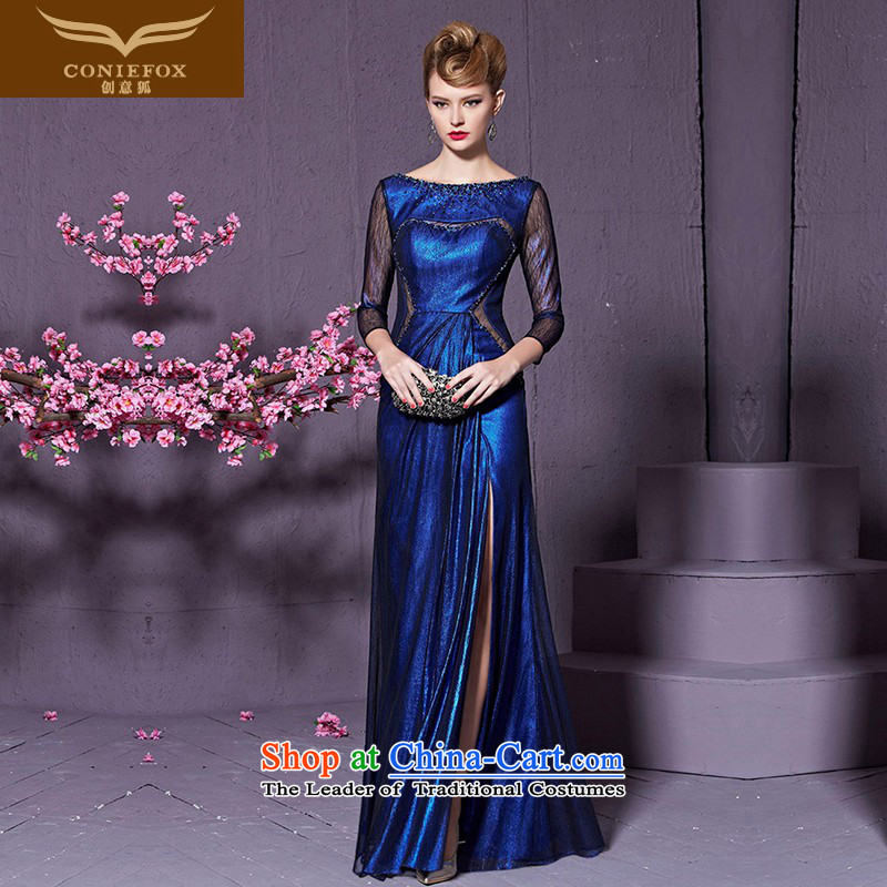 Creative Fox stylish diamond banquet evening dresses long-sleeved evening drink service wedding hospitality marriage services under the auspices of qipao gown length of 822 blue?XL Sau San