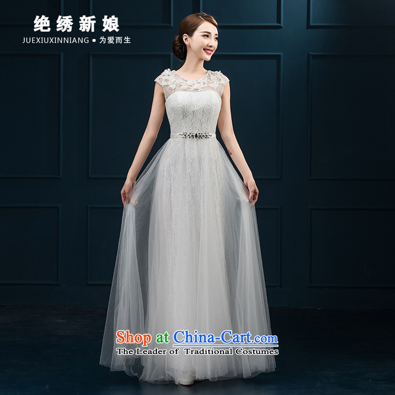 Summer 2015 new Korean shoulders long large graphics thin bows service banquet dress marriages will light gray?S?Suzhou Shipment