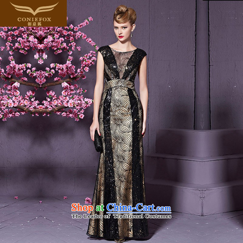 Creative Fox evening dresses and stylish reception banquet lace on-chip will preside over dress Sau San long evening drink served long skirt 82208 black picture color?M