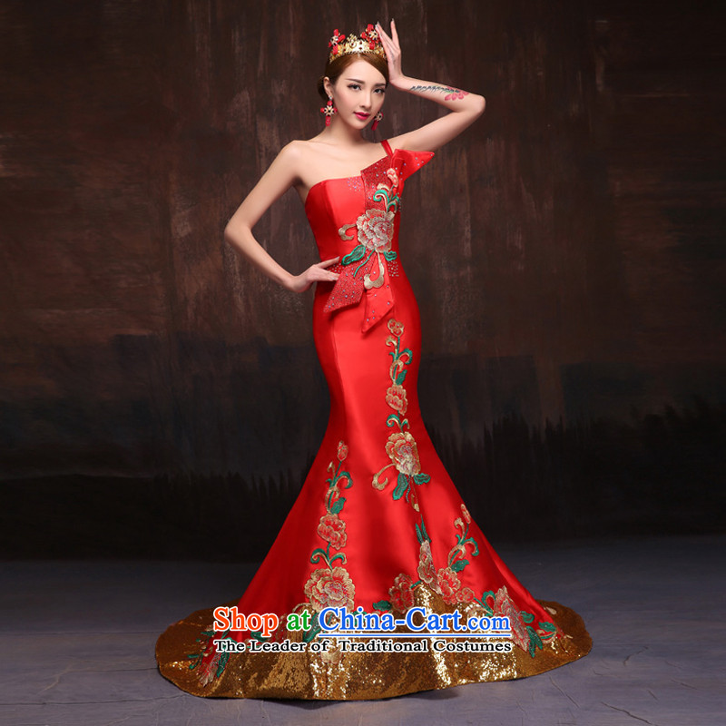 2015 Spring_Summer New Red single shoulder evening dresses retro bride crowsfoot bows to stage the moderator will China Red?M