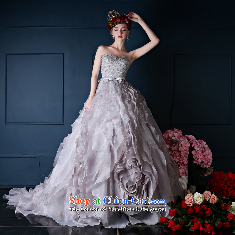 Wedding dresses spring 2015 the new Korean anointed chest long tail bride wedding banquet dinner dress will gray�M