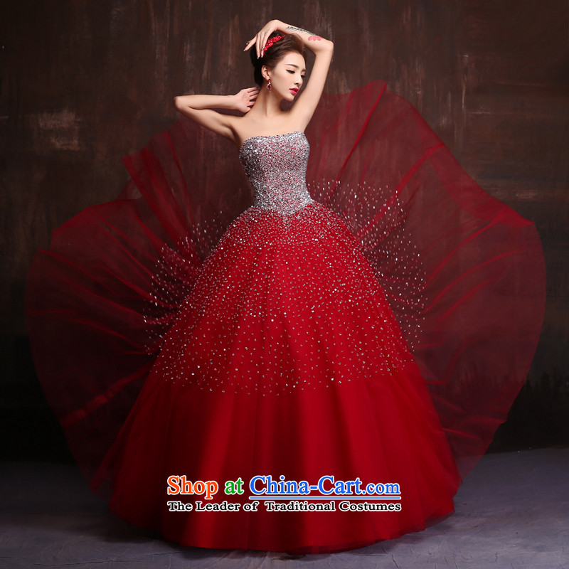 High Color wedding dress 2015 new wipe off-chip stage performances chest dress marriages bows serving wine red�S