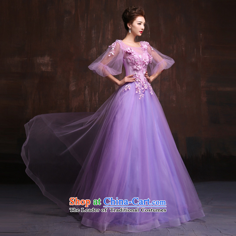 The spring and summer of 2015, the Korean version of the new bride wedding dress purple long floor) theme banquets evening dress will make size Purple