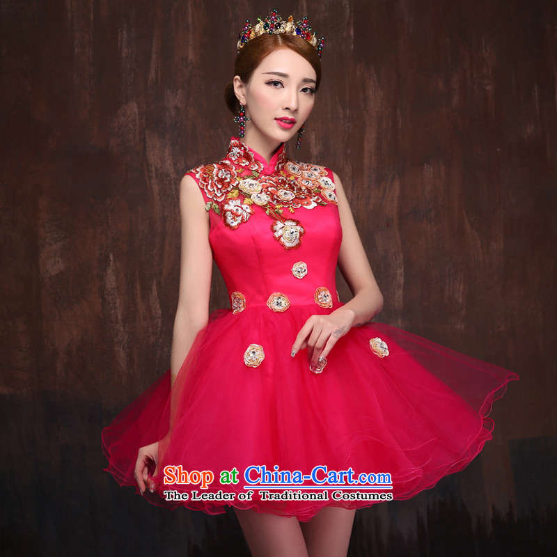 Summer 2015 new short theatrical evening dress_ services marriages red bows to Sau San bon bon skirt female China Red?M