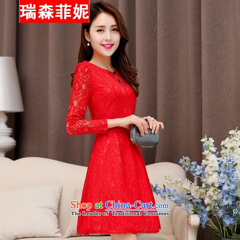 2015 new long-sleeved engraving lace Sau San bride wedding dress bows back to the doors to the long skirt marriage bows small dress banquet dinner dress RED M
