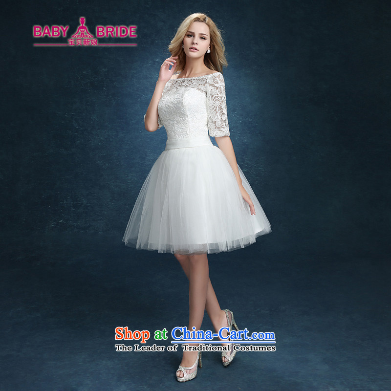 Bridesmaid Services 2015 new lace booking wedding-dress married women serving short of bows banquet dinner dress white summer WhiteXXL