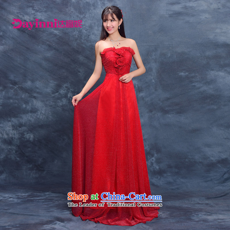 Evening dress new bride summer 2015, serving evening drink wedding dress moderator female performances banquet long red?M