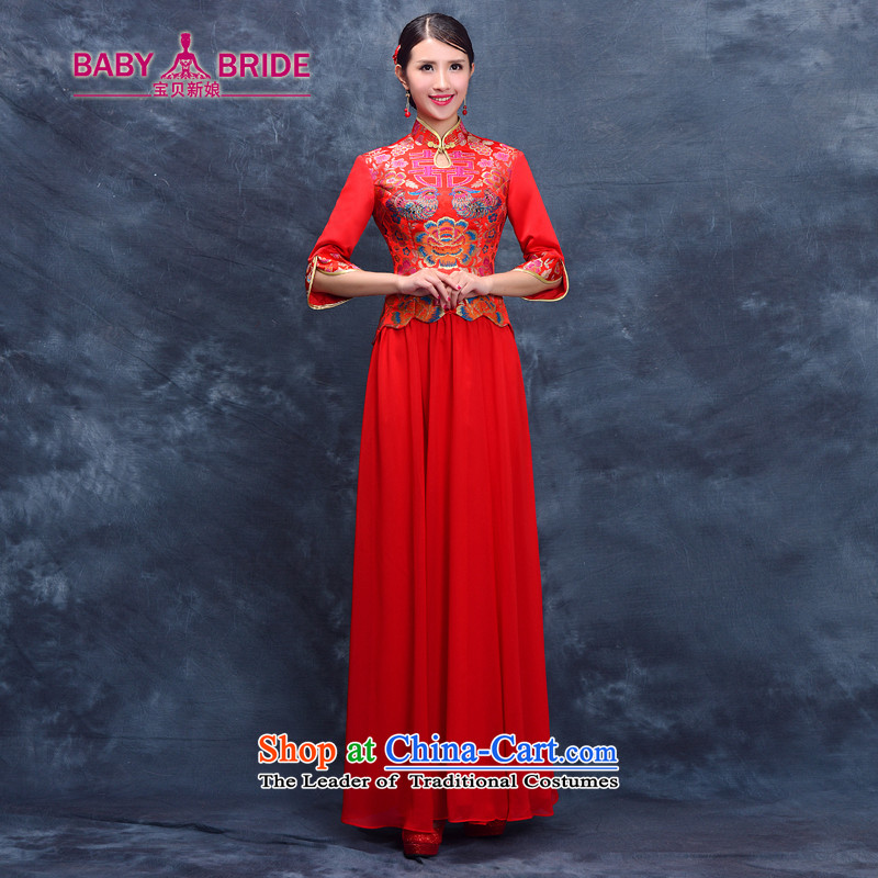Toasting champagne bride services 2015 Summer retro qipao gown cheongsam dress red bows long-serving and Phoenix use red wo�XL