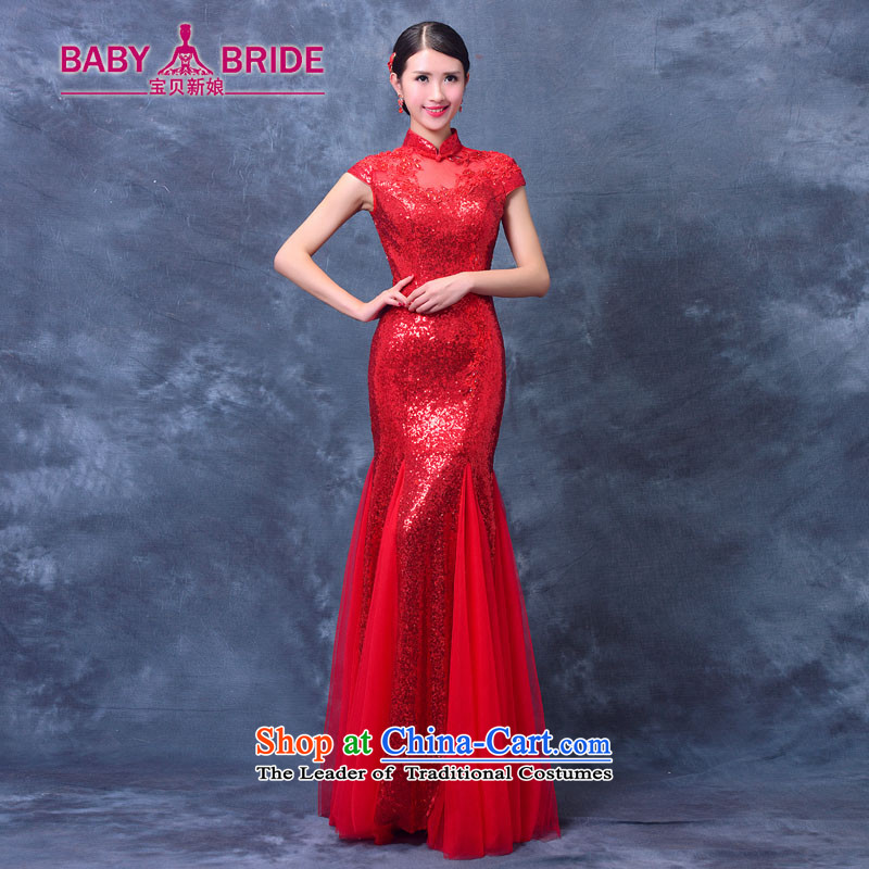 New evening dress autumn 2015 Korean brides bows serving long tail of Sau San Red Dress summer qipao marriage RED?M