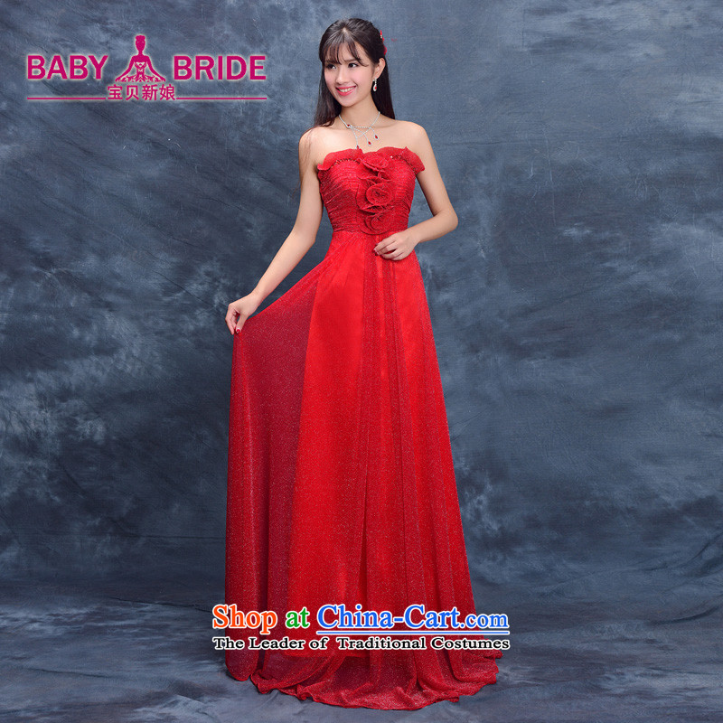 Evening dress new bride summer 2015, serving evening drink wedding dress moderator female performances banquet long red�XL