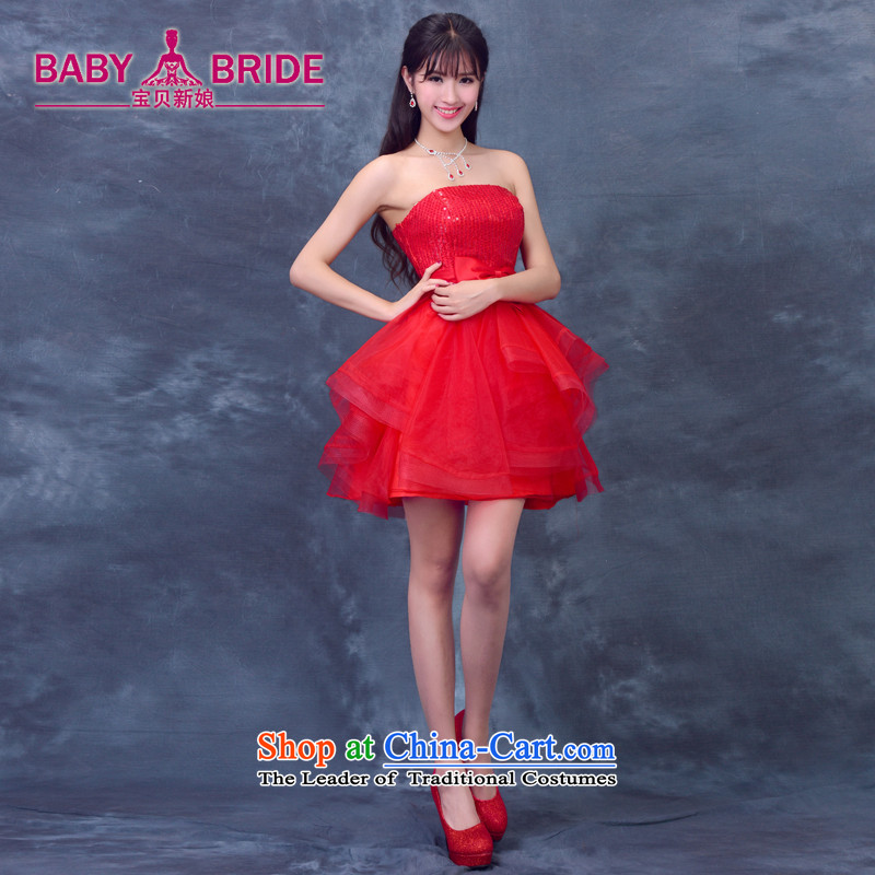 2015 Summer new anointed chest bridesmaid Dress Short of straps bride bows wedding dresses services small princess evening dress RED M