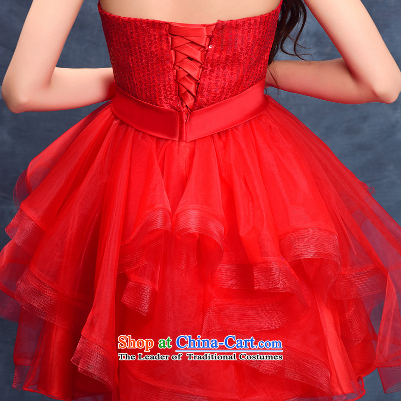 2015 Summer new anointed chest bridesmaid Dress Short of straps bride bows wedding dresses services small princess evening dress RED聽M, darling Bride (BABY BPIDEB) , , , shopping on the Internet