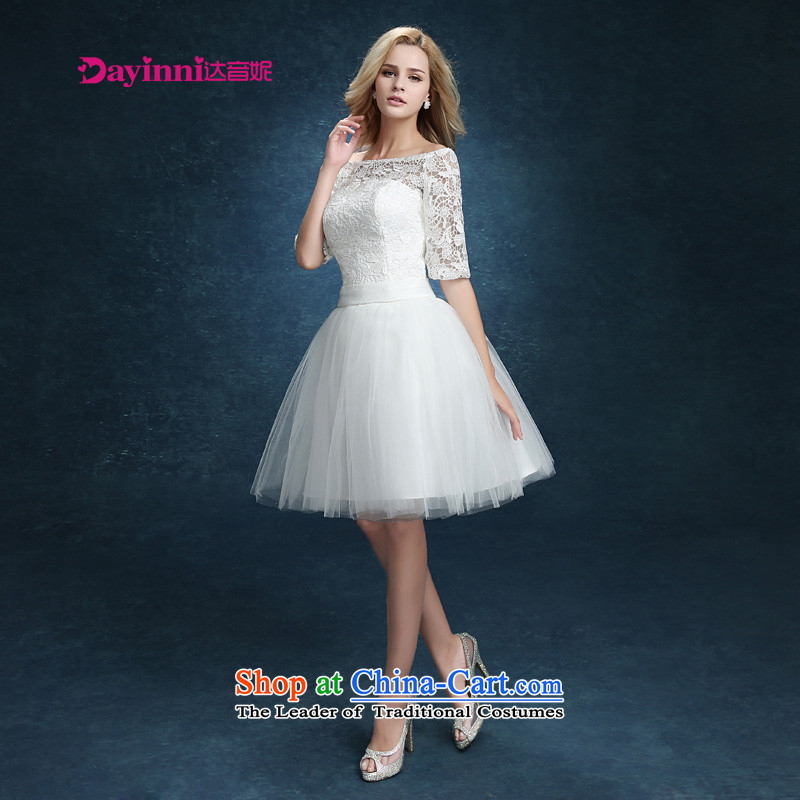 Bridesmaid Services 2015 new lace booking wedding-dress married women serving short of bows banquet dinner dress white summer White M