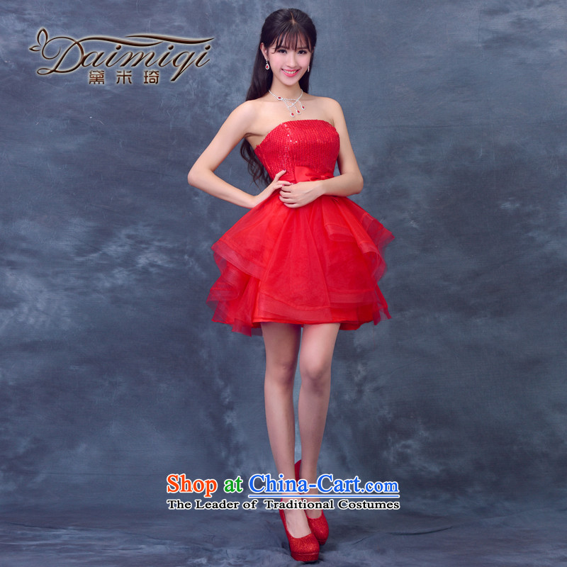 2015 Summer new anointed chest bridesmaid Dress Short of straps bride bows wedding dresses services small princess evening dress red S
