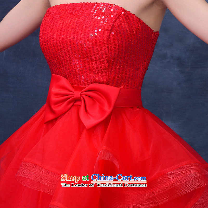 2015 Summer new anointed chest bridesmaid Dress Short of straps bride bows wedding dresses services small princess evening dress red S Demi Moor Qi , , , shopping on the Internet